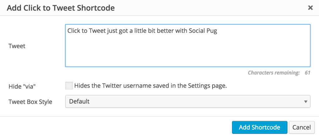 Social Pug Click to Tweet Shortcode